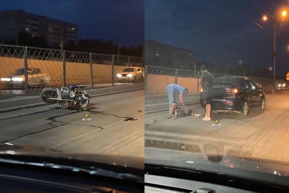 "Мотоциклист столкнулся с иномаркой на Бердском шоссе. Фото: ""АСТ-54"""