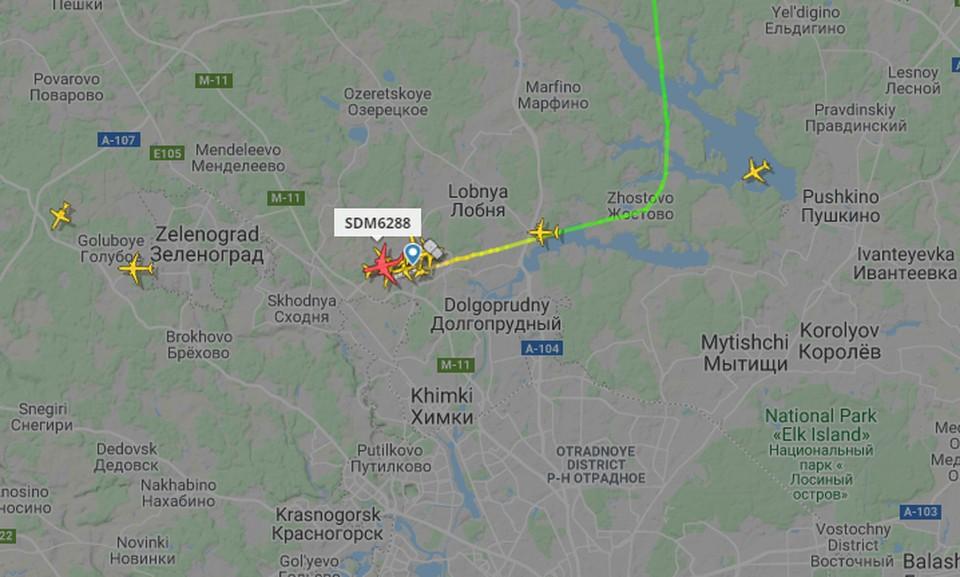 Рейс с задержанным губернатором Хабаровского края сел в Шереметьево. Фото: сайт Flightradar24
