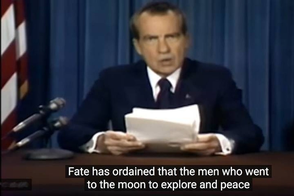 Документальные кадры: Никсон читает траурную речь.