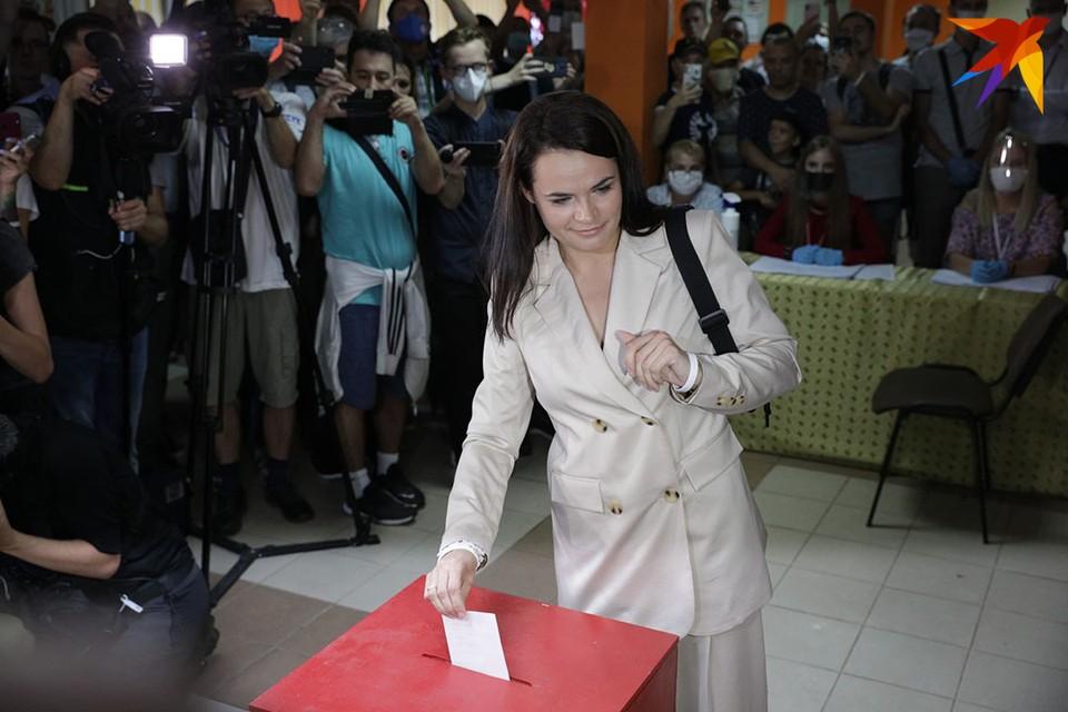 Светлана Тихановская проголосовала на выборах президента Беларуси.