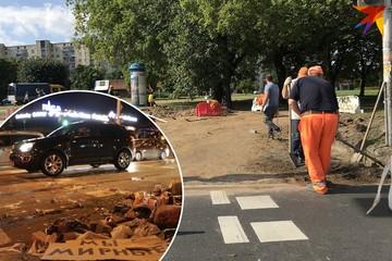 Возле «Риги» в Минске коммунальники убрали все следы протестов ночью 10 августа