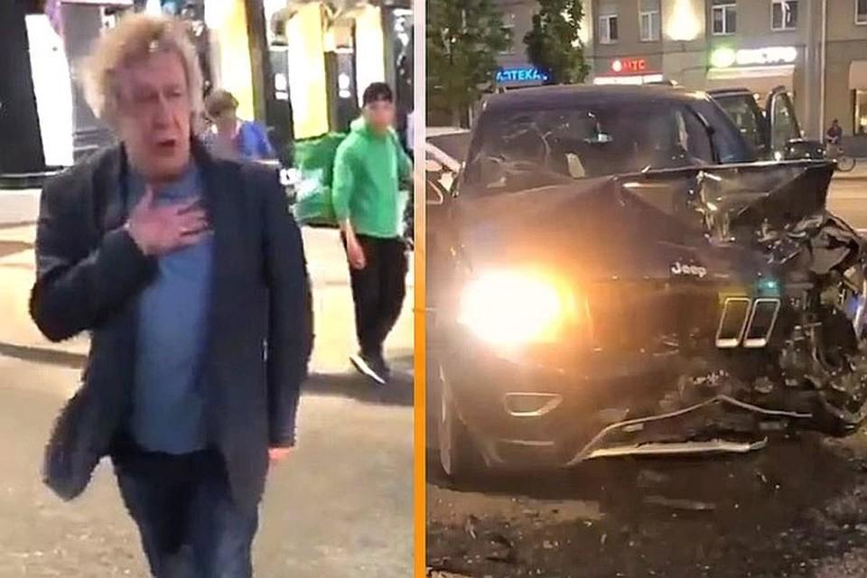 Михаил Ефремов и его разбитый внедорожник на месте смертельного ДТП.