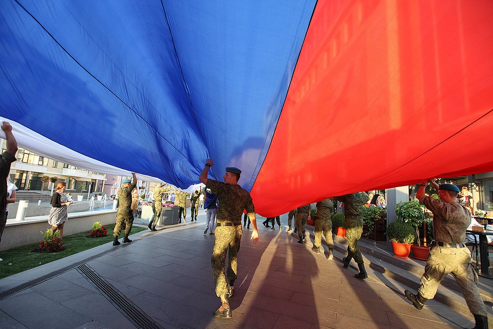 Во время празднования Дня Флага России в Ставрополе.