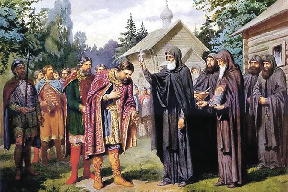 Знаменитый сюжет: Сергий Радонежский благословляет Дмитрия Донского на битву с Мамаем.