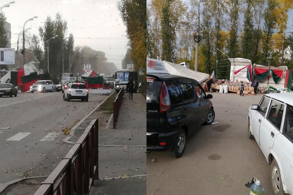 Торговые палатки сдуло порывом ветра в микрорайоне Ново-Ленино в Иркутске. Фото: dtp_irk