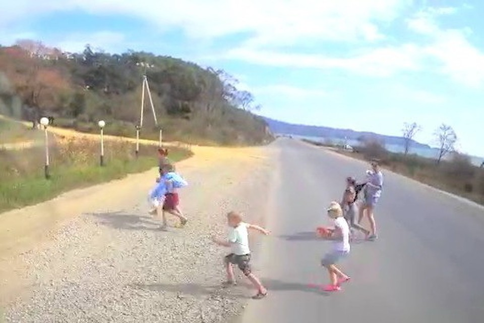 Скриншот с видеорегистратора автомобиля, сбившего детей