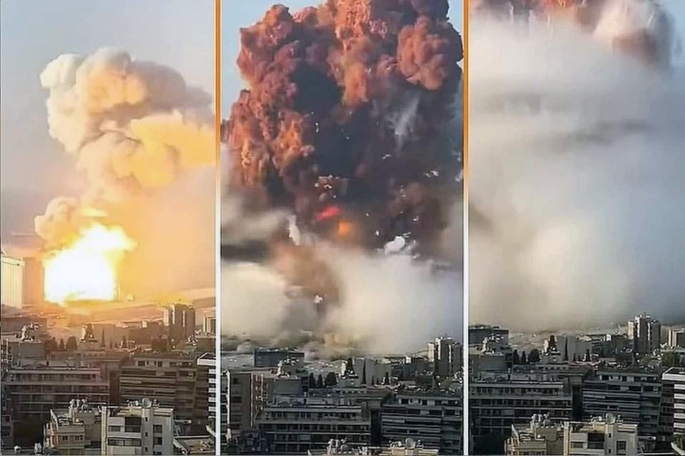 Момент взрыва в порту Бейрута в августе 2020 г.