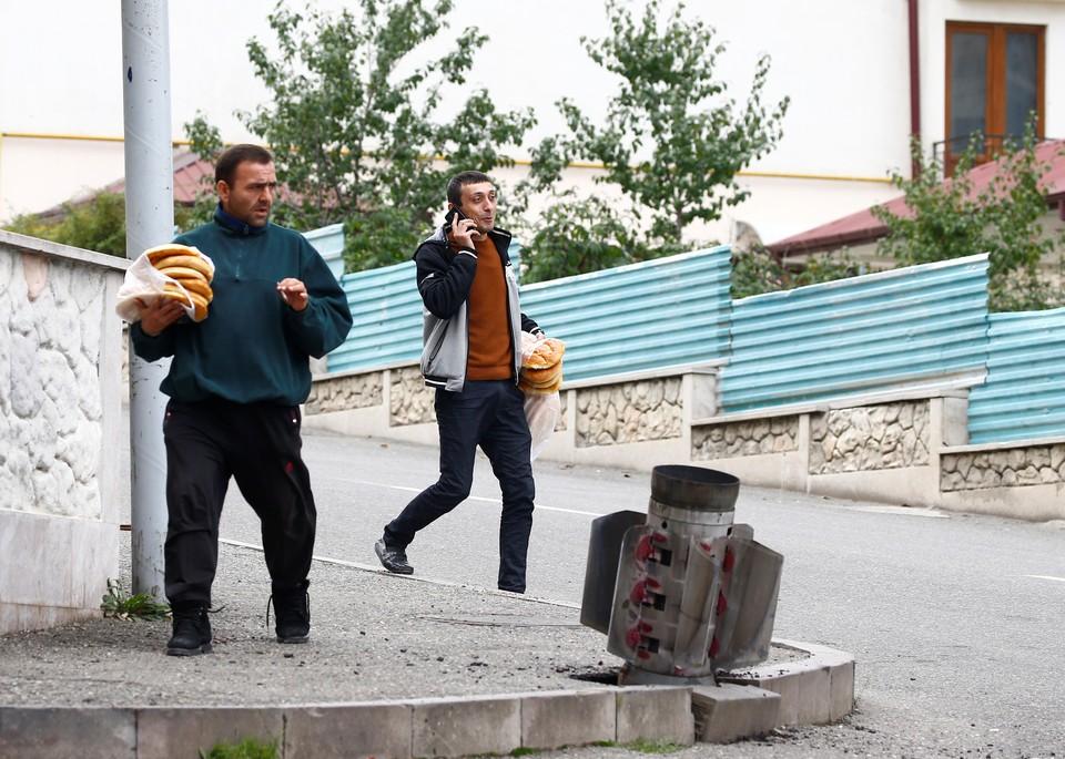 В городе Нагорного Карабаха в зоне конфликта