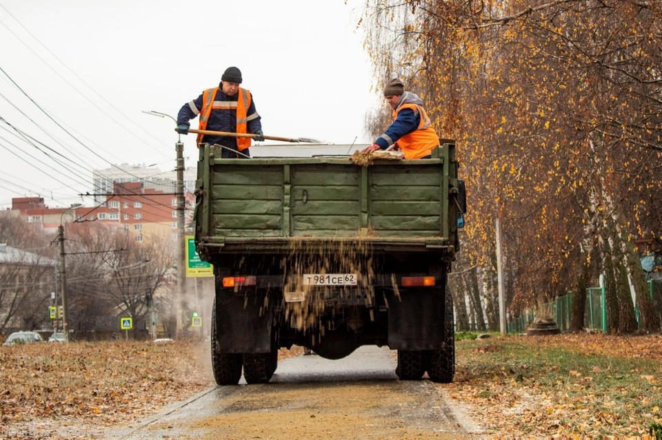 Дороги и тротуары в Рязани посыпали песком и реагентами.
