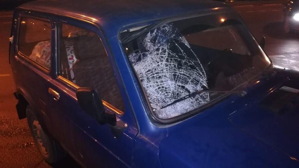 Очевидно, в момент аварии пешехода отбросило на лобовое стекло. Фото: УГИБДД по Тверской области