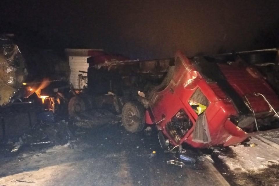 Фото с места аварии четырех грузовиков в Ленобласти. Фото: vk.com/spb_today