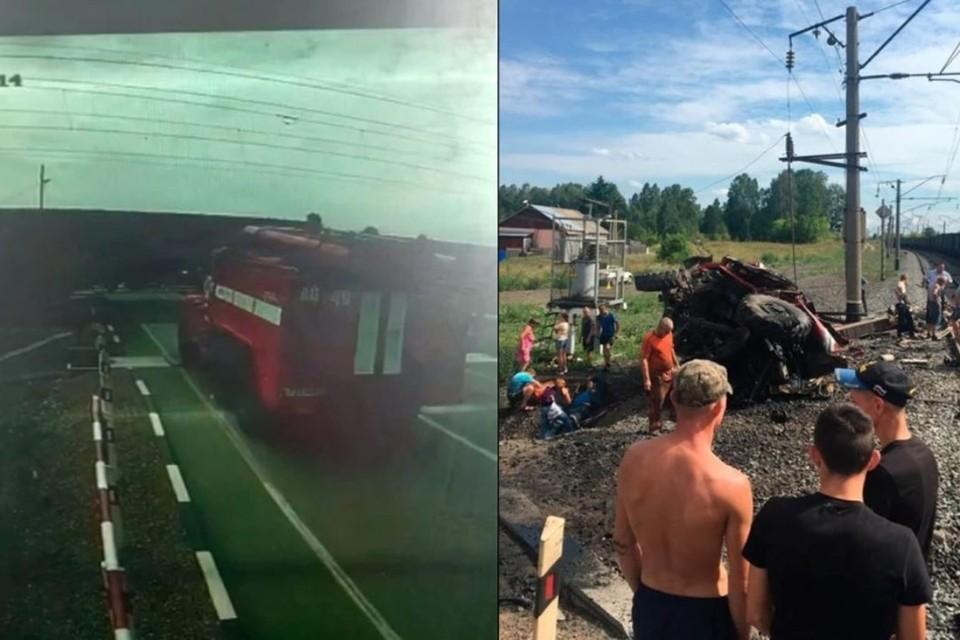 Столкновение пожарной машины и поезда на Алтае.