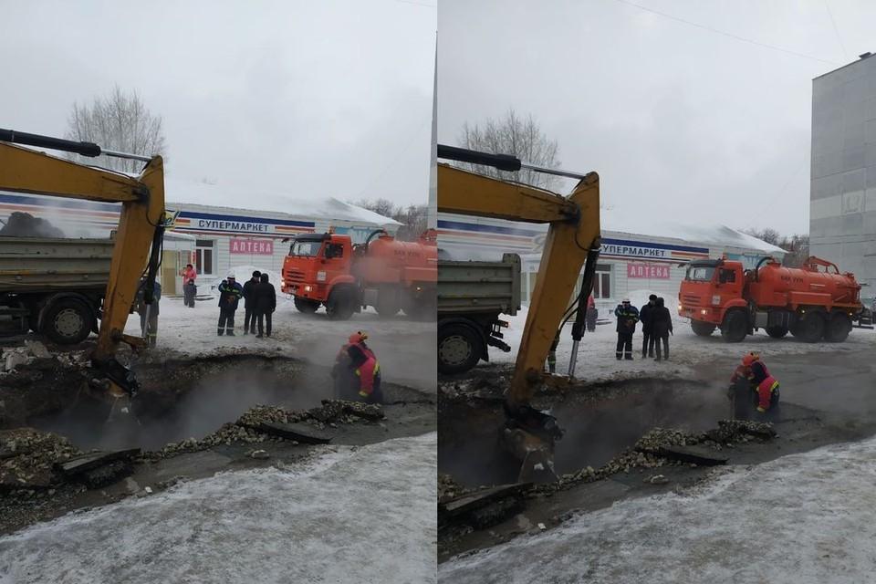 В Кировском районе Новосибирска прорвало трубу с кипятком. Фото: СГК