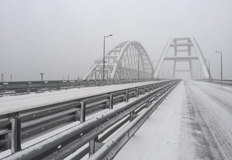 Крымский мост впервые в истории закрыт из-за непогоды. Фото: пресс-служба администрации Краснодарского края