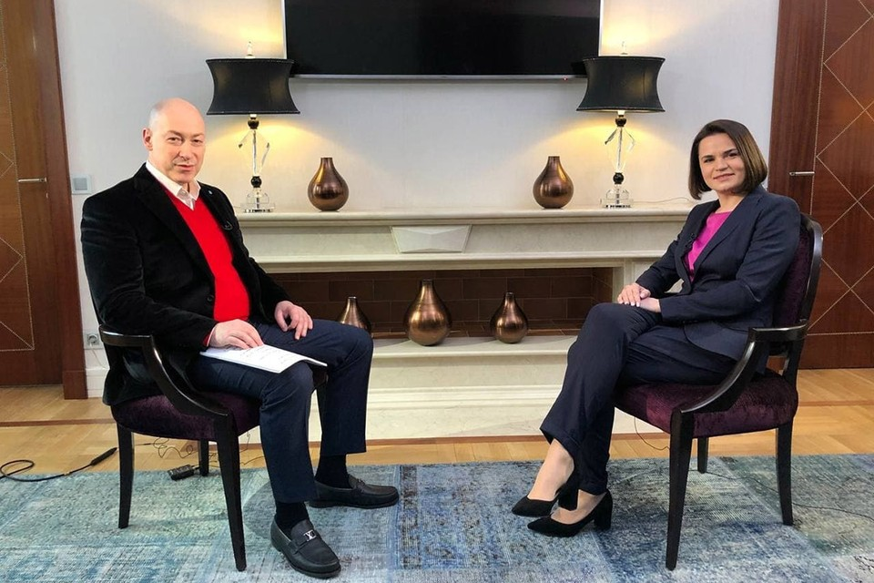 Светлана Тихановская дала интервью Дмитрию Гордону. Фото: Telegram Светланы Тихановской