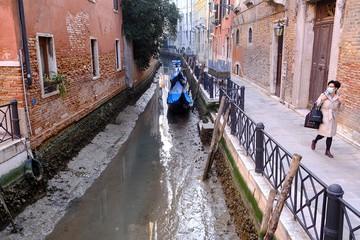 Гондолы на мели: в Венеции пересохли каналы