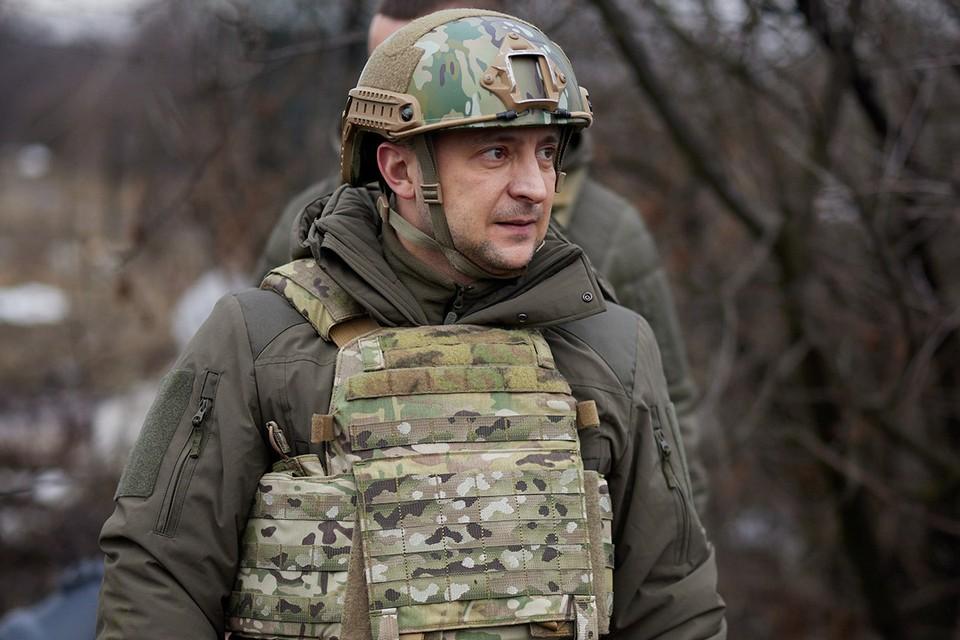 Президент Украины Владимир Зеленский на позициях ВСУ на Донбассе.