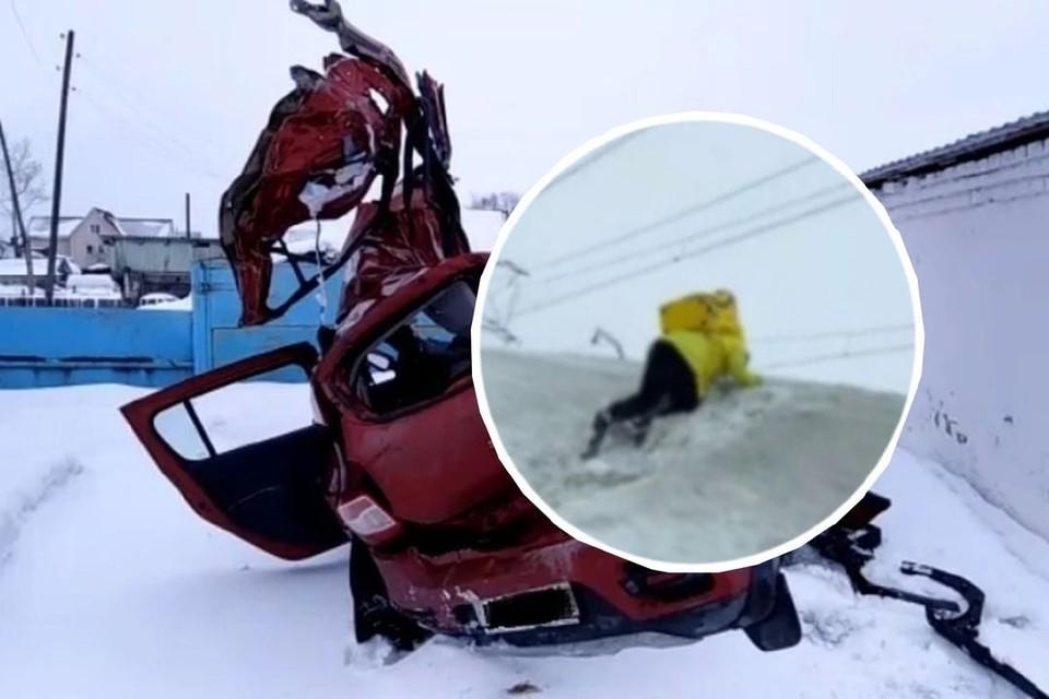 Авария произошла в Каргатском районе. Фото: пресс-служба ГУ МВД России по Новосибирской области/скриншот из видео