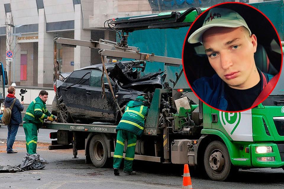 За рулем синей «Ауди», которая сделала опасный маневр и врезалась в четыре машины, был блогер Эдвард Бил. Фото: Михаил Джапаридзе/ТАСС, Соцсети