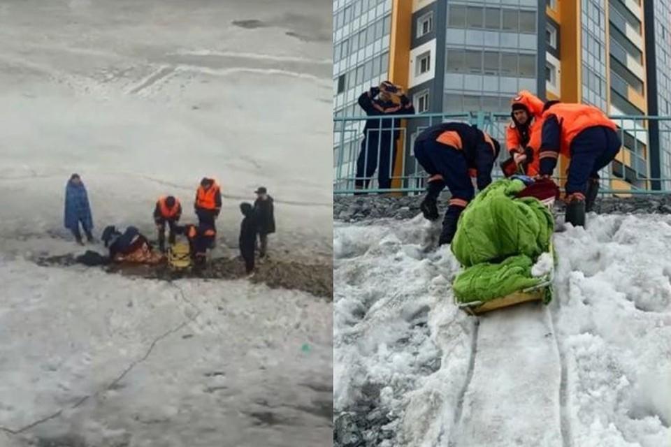 В Новосибирске мужчина провалился под лед, пока ловил рыбу.