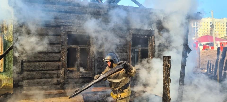 Дом и другие постройки на участке сгорел дотла. Фото: пресс-служба ГУ МЧС России по Омской области