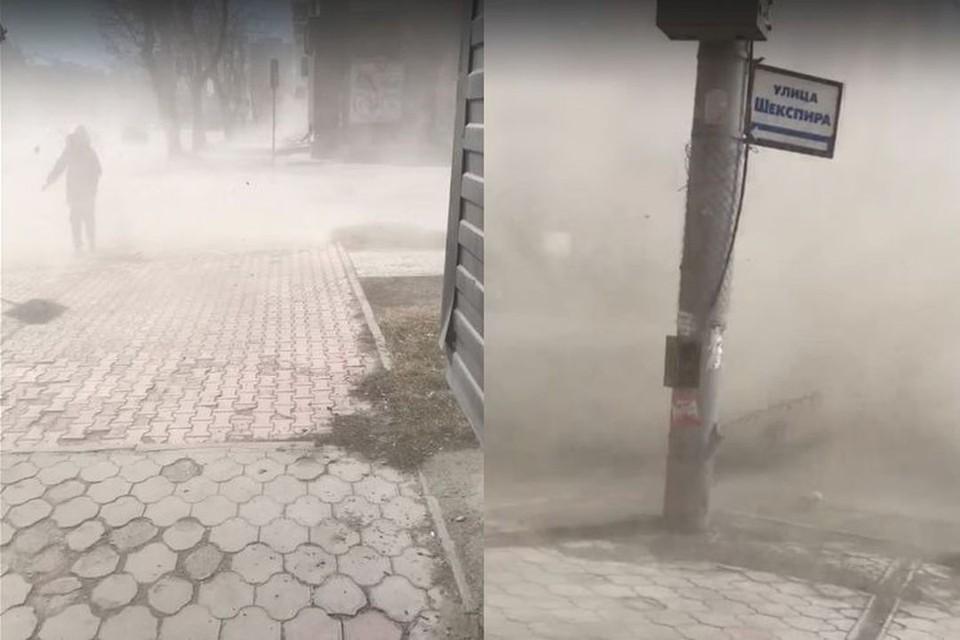 """В Новосибирске в Дзержинском районе разыгралась настоящая пыльная буря. Фото: """"АСТ-54"""""""