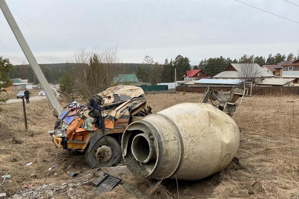 Водитель бетономешалки погиб в ДТП в Иркутском районе