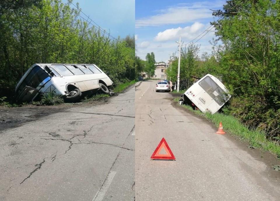 В региональном минтрансе прокомментировали ДТП с пассажирским автобусом, съехавшим в кювет. Фото: Госавтоинспекция по Новосибирской области