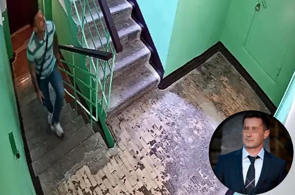 Мужчина преследовал девочку в подъезде, но поняв, что его разоблачили, скрылся. Фото: кадр из видео.