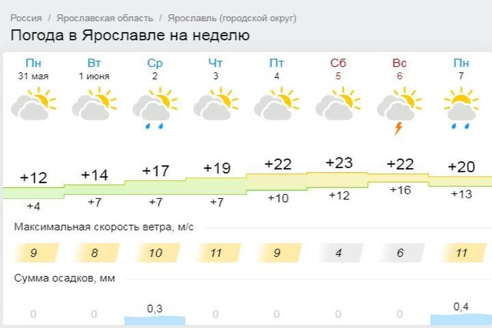 Тепло в Ярославскую область придет в конце недели. Скриншот Gismeteo