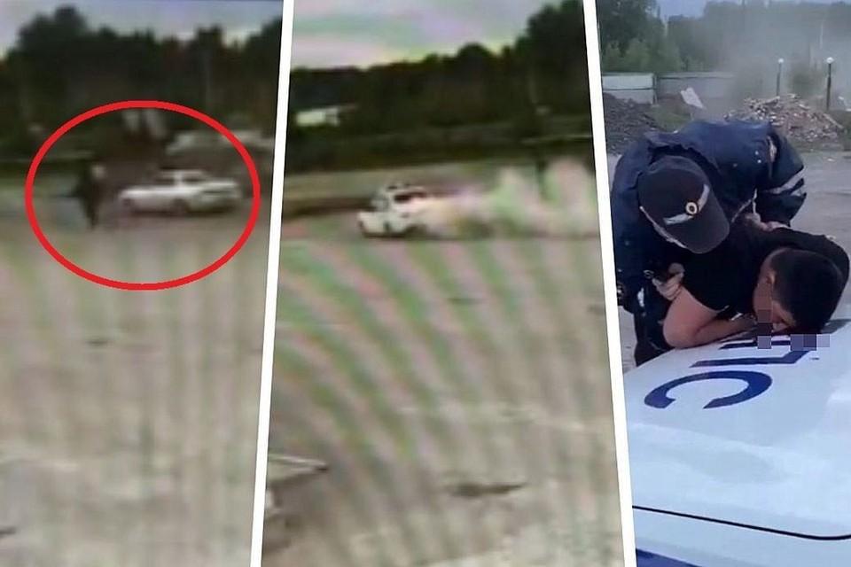 """На кадрах видно, как из """"Тойоты"""" выбегают парни. А следом к иномарке подлетает патрульный автомобиль. Фото: скриншот с видео."""