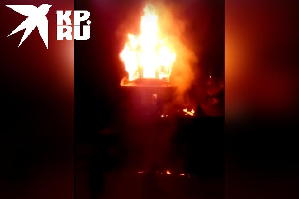 Сгоревшая церковь Фото: Скриншот с видео