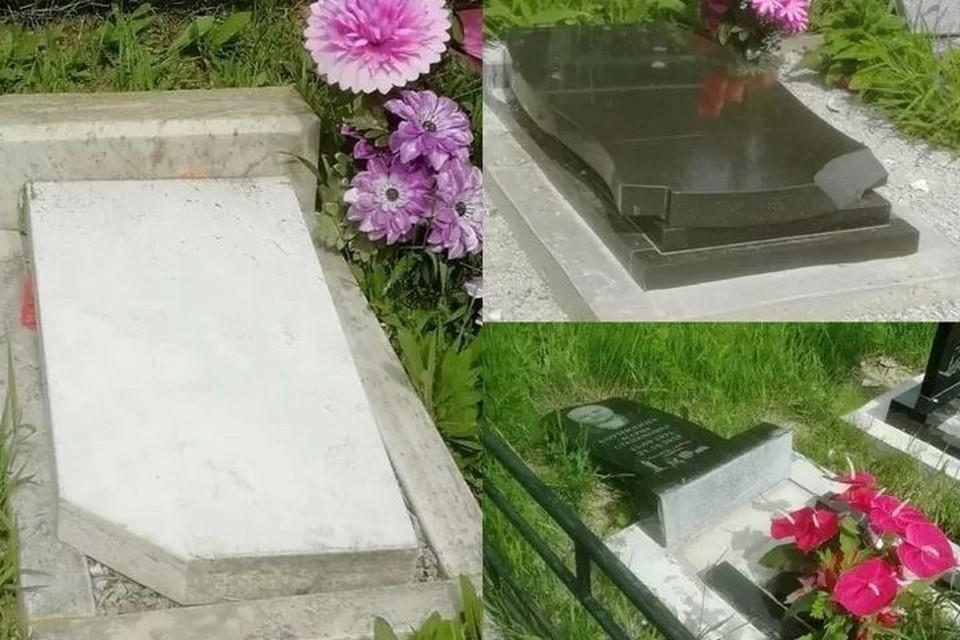 Ребята поломали могильные плиты. Фото: www.instagram.com/atypical_dalnegorsk.