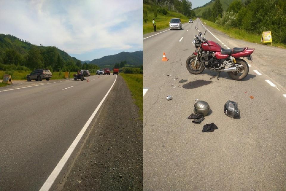 Новосибирец на внедорожнике сбил мотоцикл с двумя людьми на Алтае. Фото: ГУ МВД по Республике Алтай.