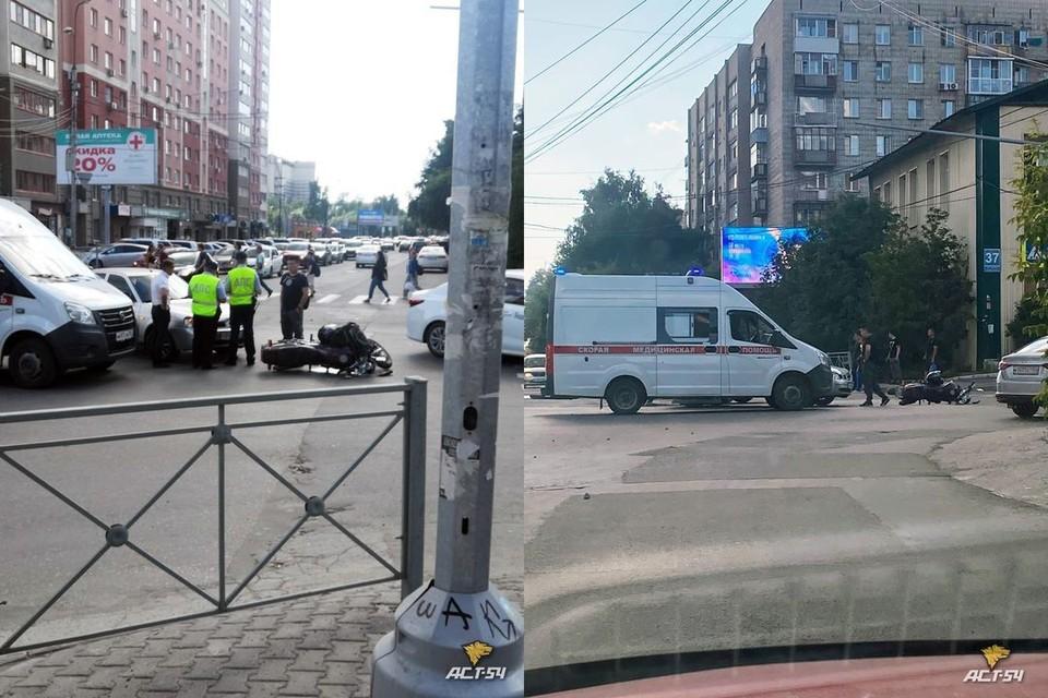 """В Новосибирске, вечером 9 июля, «Лада» столкнулась с мотоциклистом. Фото: """"АСТ-54"""""""