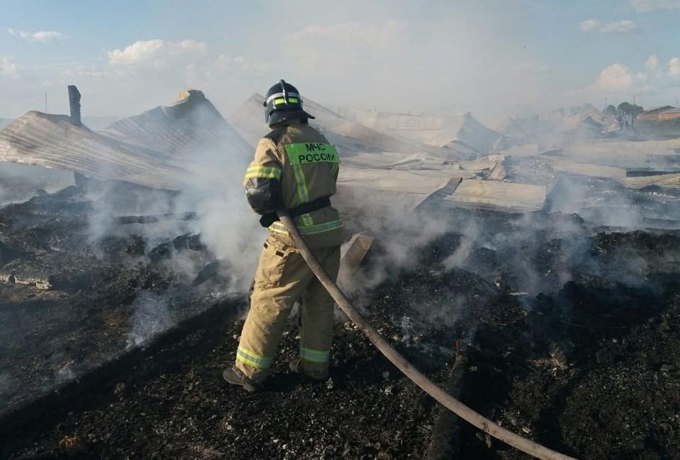Пожар уничтожил ферму под Новосибирском. Фото: пресс-служба ГУ МЧС по НСО