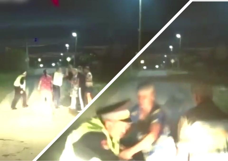 Нападение на сотрудников ГИБДД сняла камера в машине полицейских. Фото: ГУ МВД по Челябинской области
