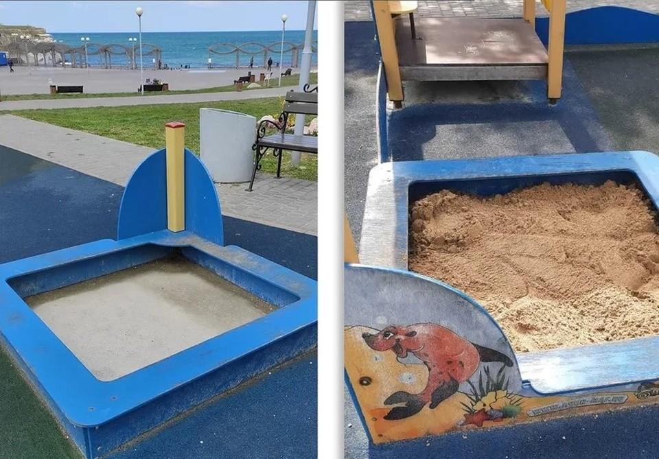 Песочница в парке Ахматовой. До и после обращения в ЦУР.