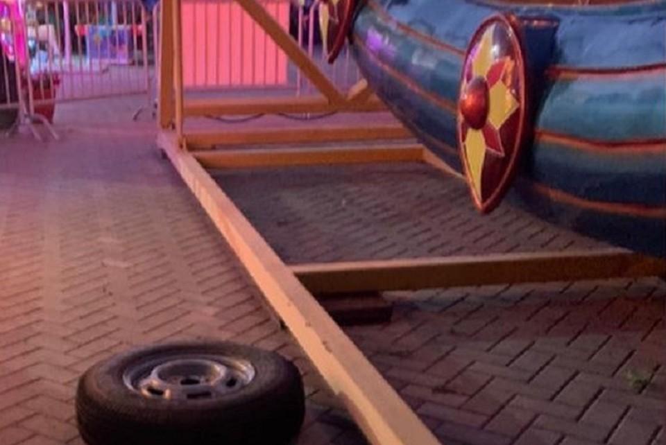 Родители возмущены тем, что аттракцион сломался прямо во время работы