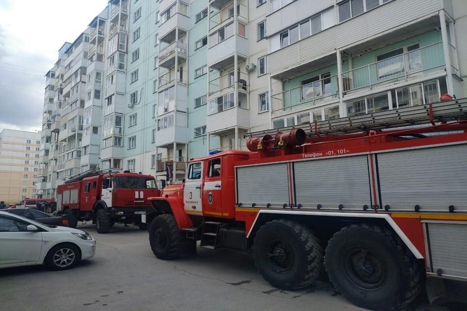 В Новосибирске пожарные спасли восьмилетнюю девочку из горящей многоэтажки. Фото: ГУ МЧС по НСО.