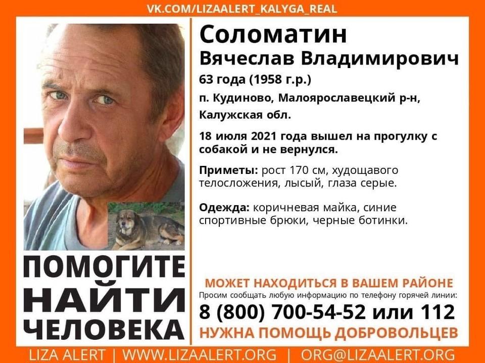 Посмотрите видеорегистраторы. Пропавший Вячеслав Соломатин мог попасть на запись.
