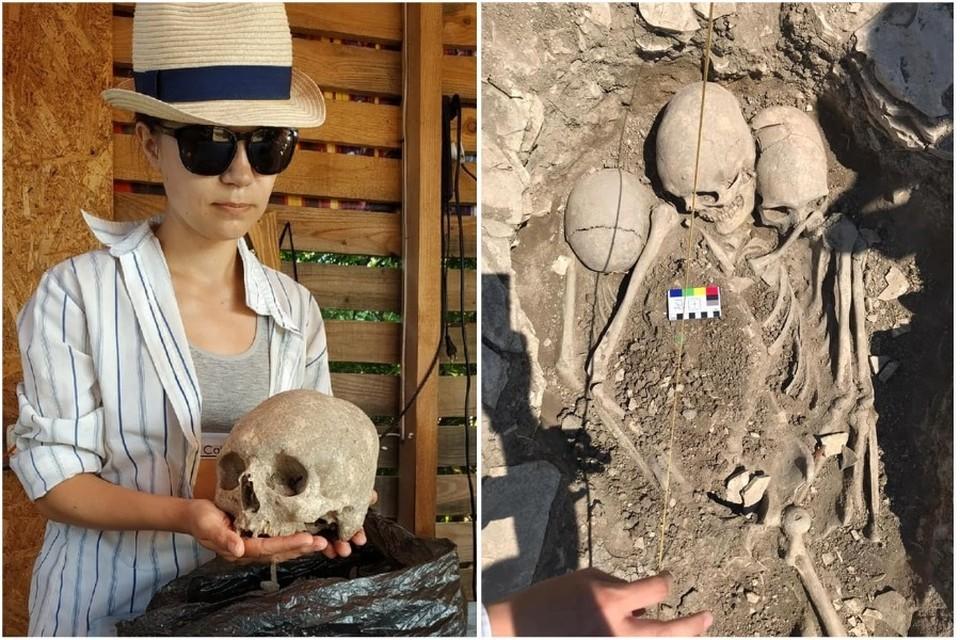 Антрополог Института Археологии РАН Наталья Свиркина изучает захоронение. Фото: Oleg Markov/FB