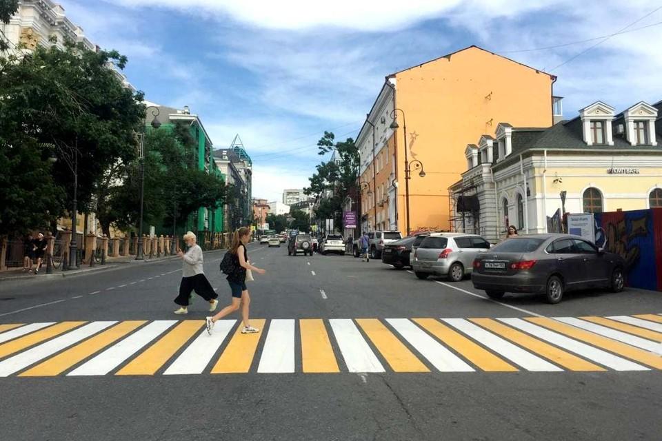 Пешеходы в центре Владивостока наконец-то в законе