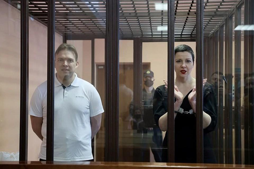 Посмотрите, как в суде выглядели Мария Колесникова и Максим Знак в момент оглашения приговора. Фото: Sputnik.by.