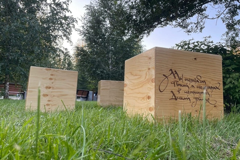 В Красноярске установили арт-объект из деревянных кубов. Фото: пресс-служба администрации города
