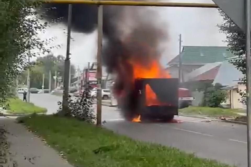 По словам очевидцев, машина везла лошадь. Фото: стоп-кадр.