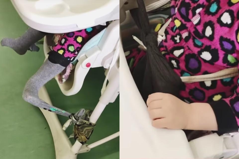 В больнице Петербурга малыша-сироту медики привязывали к стулу колготками. Фото: скриншот видео / Instagram @blackmamba_psy