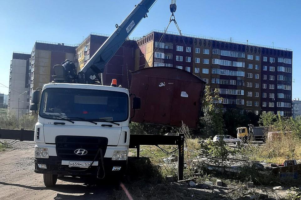 В Красноярске снесли 19 гаражей и торговый павильон. Фото: пресс-служба администрации города