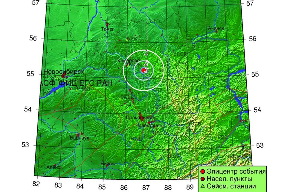 В Кузбассе произошло очередное землетрясение. Фото: asgsr.ru.