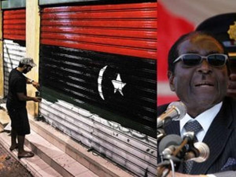 Слева: сторонник оппозиции рисует новый флаг, справа - глава Зимбабве Мугабе